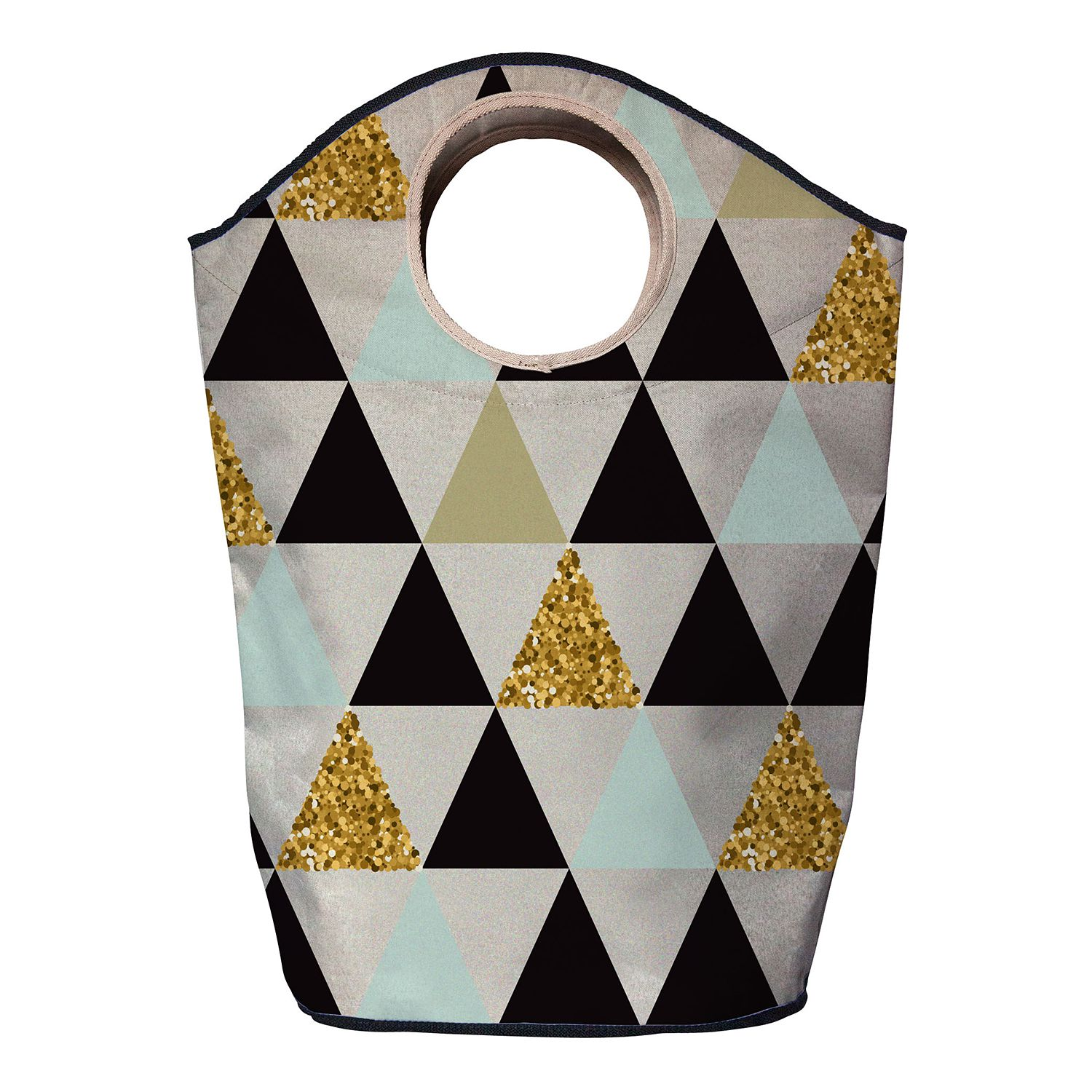 Wasmand gold triangles - geweven stof - lichtbeige/zwart, Butter Kings