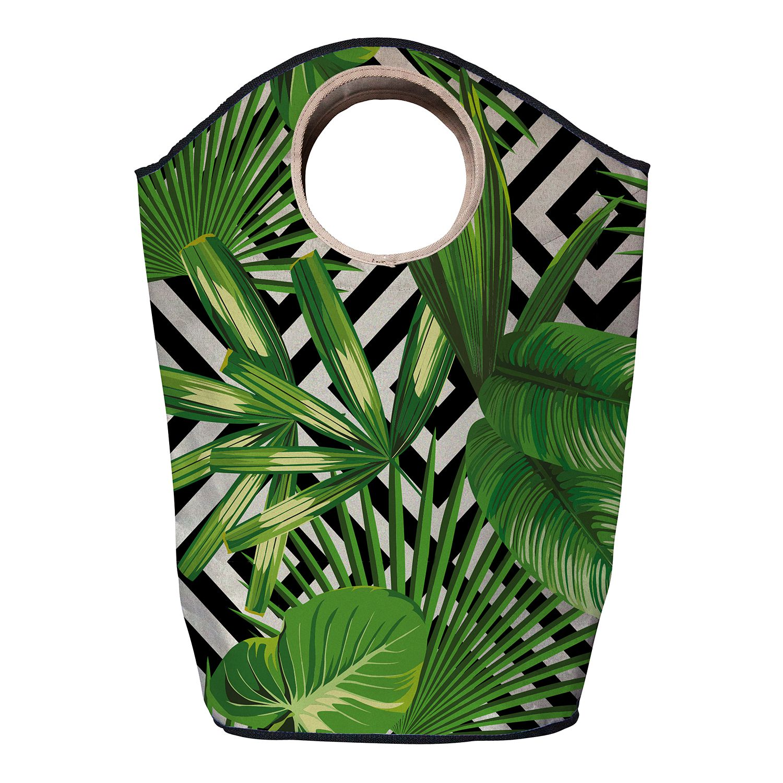 Wasmand green leafs - geweven stof - groen/zwart, Butter Kings