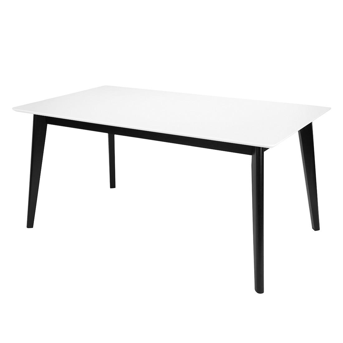 Table à manger Knoppe - Partiellement en bois massif - Frêne - Blanc / Noir - 160 x 90 cm, Morteens