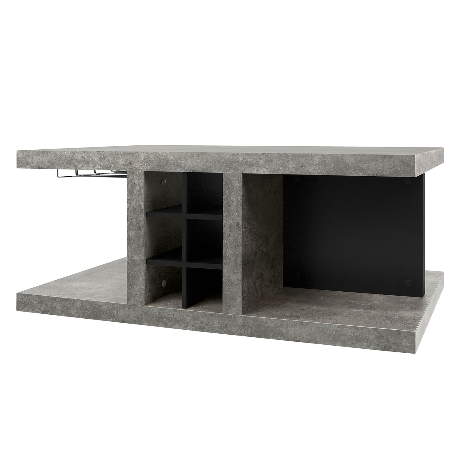 Table Basse Detroit Ii Imitation B Ton Noir Mat
