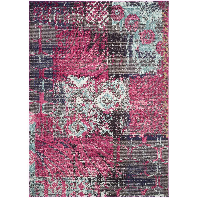 Tapijt Aziel - kunstvezel - roze/zwart - 200x279cm, Safavieh