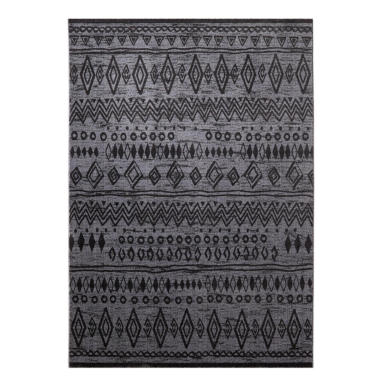 Teppich Contemporary Kelim - Schwarz / Grau - 160 x 225 cm, Wecon Home