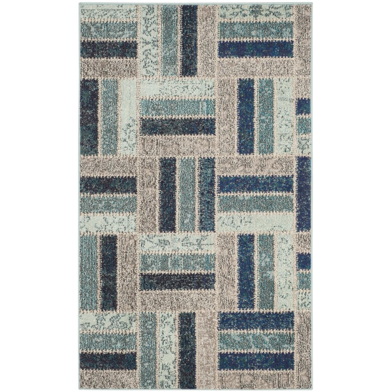 Teppich Cordova - Kunstfaser - Cappucino / Petrol - 91 x 152 cm, Safavieh