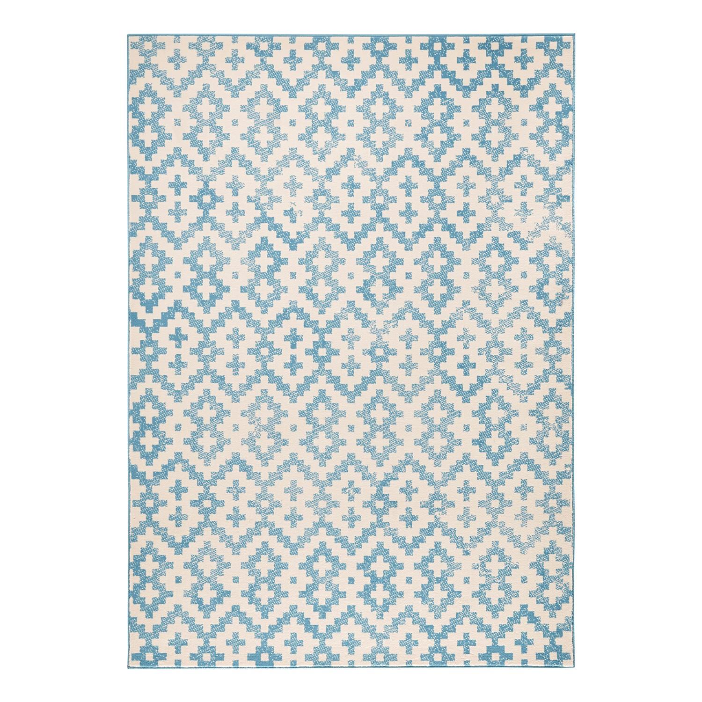teppich duo kunstfaser blau beige 70 x 140 cm wohnzimmer teppiche hochfloor ebay. Black Bedroom Furniture Sets. Home Design Ideas