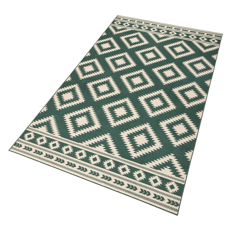 Vloerkleed Ethno - kunstvezels - Groen/wit - 160x230cm, ars manufacti
