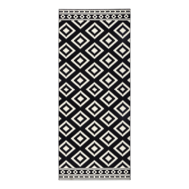 Vloerkleed Ethno - kunstvezels - Zwart/crème - 80x200cm, ars manufacti