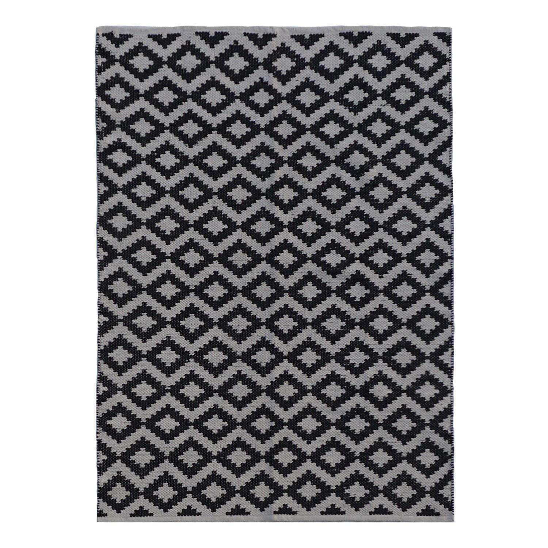 Tapijt Jacquard II - katoen - zwart/grijs, Morteens