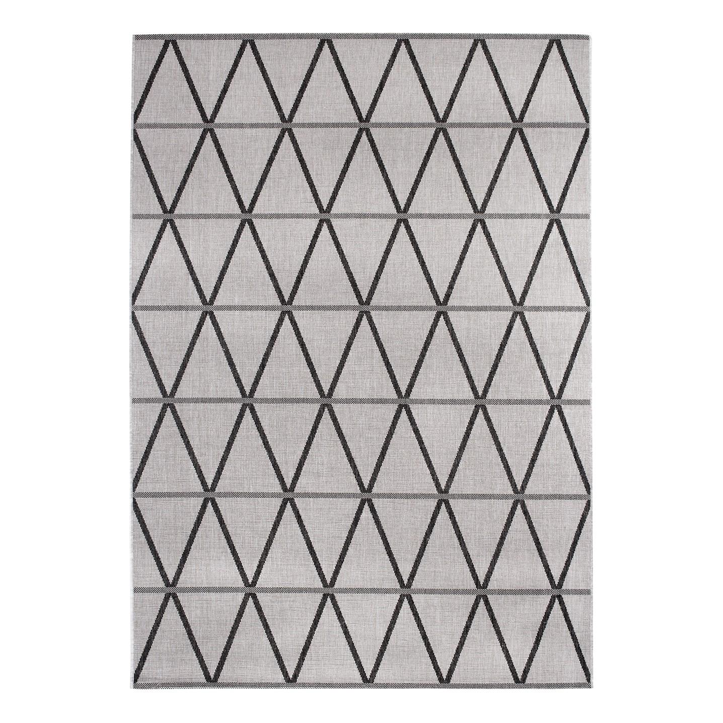 Teppich Kandava - Kunstfaser - Grau / Schwarz - 67 x 140 cm, Morteens