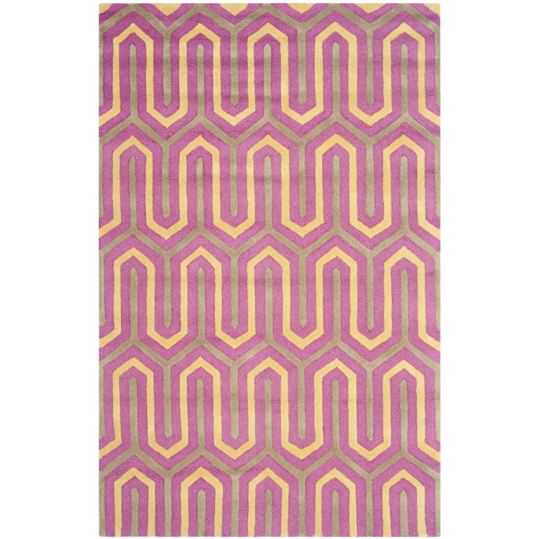 Tapijt Leta - met de hand getuft - wol - Taupe/roze - 152x243cm, Safavieh