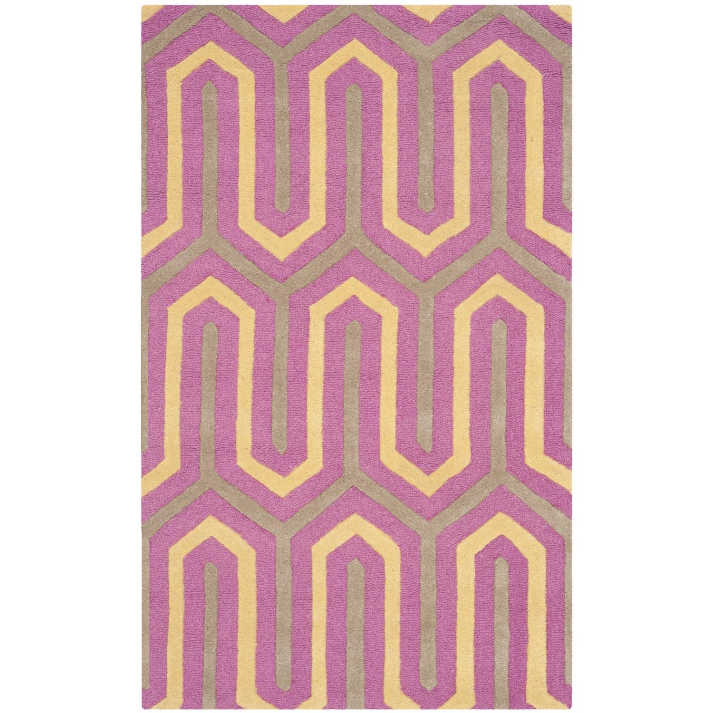 Vloerkleed Leta - met de hand getuft - wol - Taupe/roze - 91x152cm, Safavieh