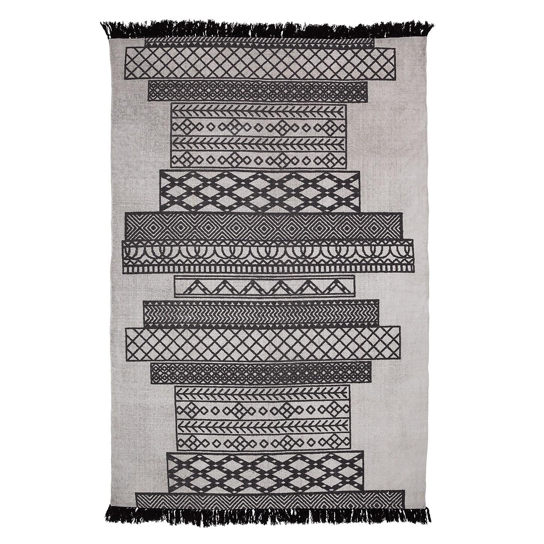 Teppich Nabbe - Baumwollstoff - Grau / Schwarz, Eva Padberg Collection