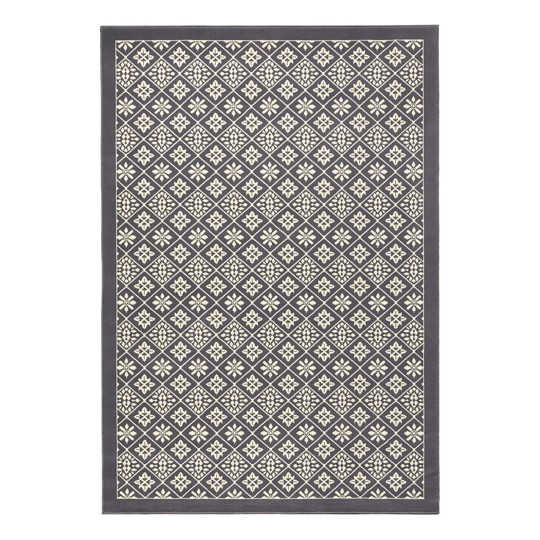 Vloerkleed Tile - kunstvezels - Grijs/crèmekleurig - 200x290cm, mooved