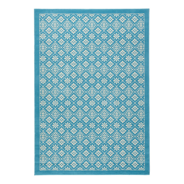 Vloerkleed Tile - kunstvezels - Lichtblauw/wit - 80x150cm, mooved