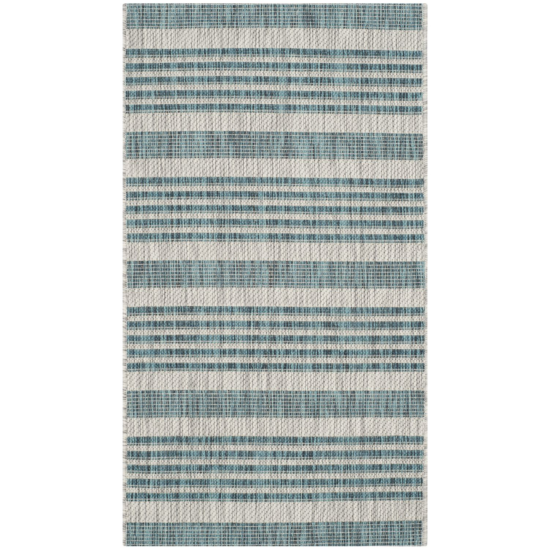 In & Outdoor Teppich Wilshire - Kunstfaser - Chasmere / Petrol - 109 x 60 cm, Safavieh
