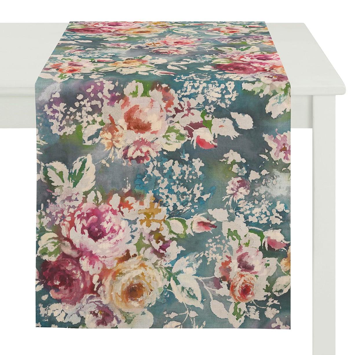 chemin de table goven coton bleu p trole rose apelt meubles en ligne. Black Bedroom Furniture Sets. Home Design Ideas