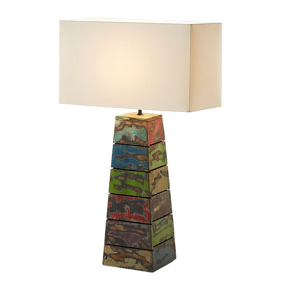 EEK A++, Lampe de table Birt - Bois / Tissu - 1 ampoule, Naturoo