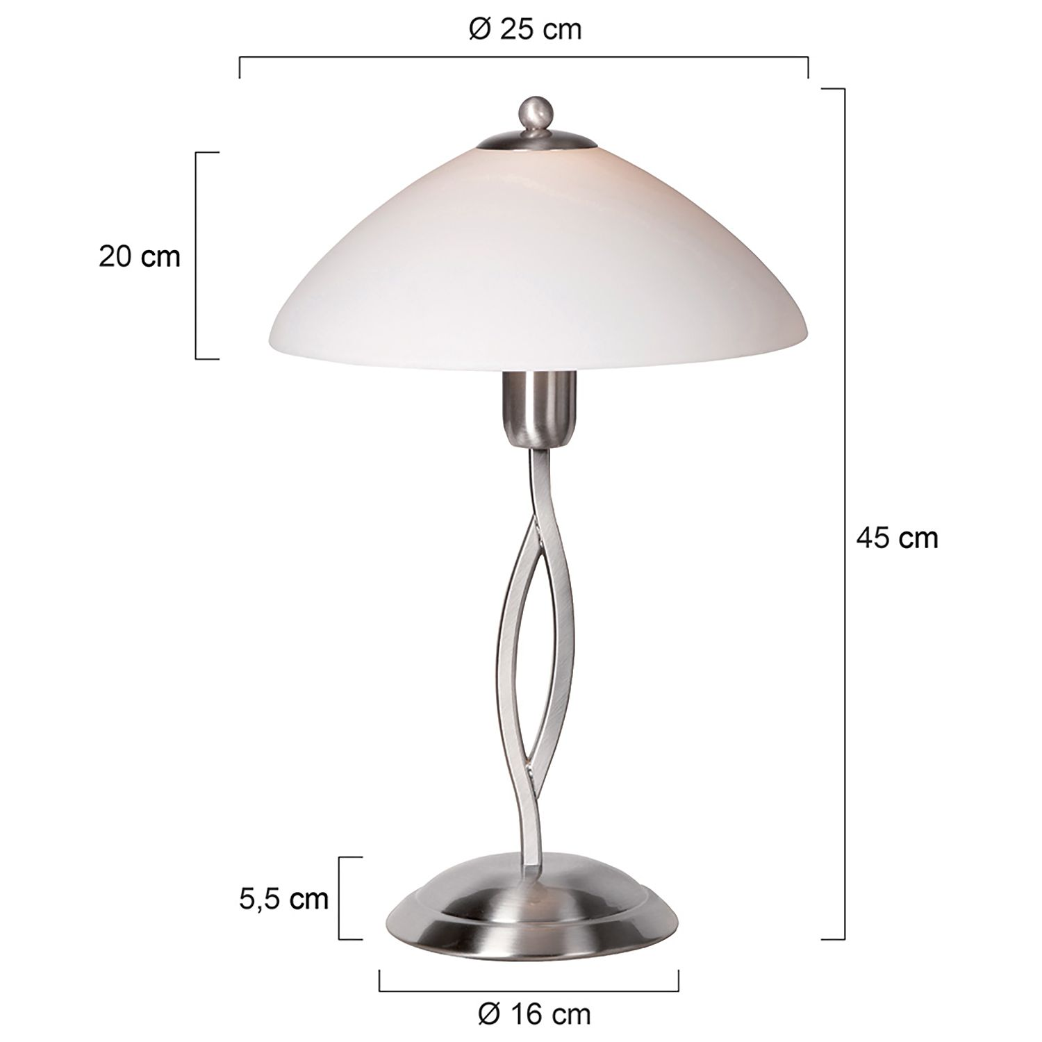 EEK A++, Lampe de table Capri - 1 ampoule Nickel mat, Steinhauer