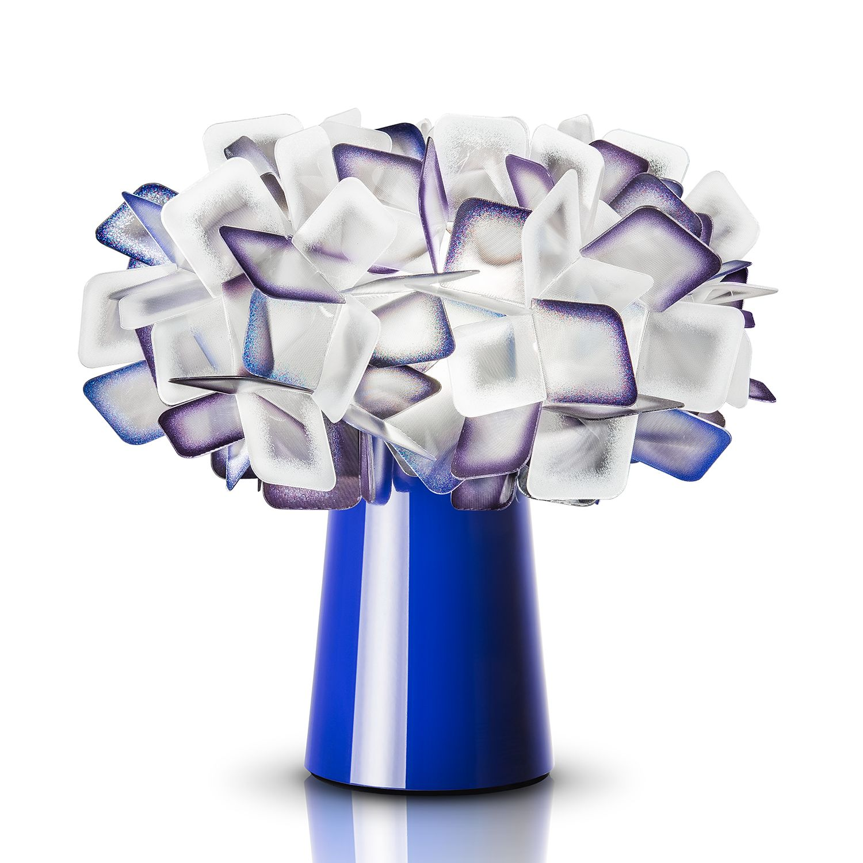 EEK A++, Lampe de table Clizia I - Lentiflex® / Acier inoxydable - 1 ampoule - Bleu, Slamp
