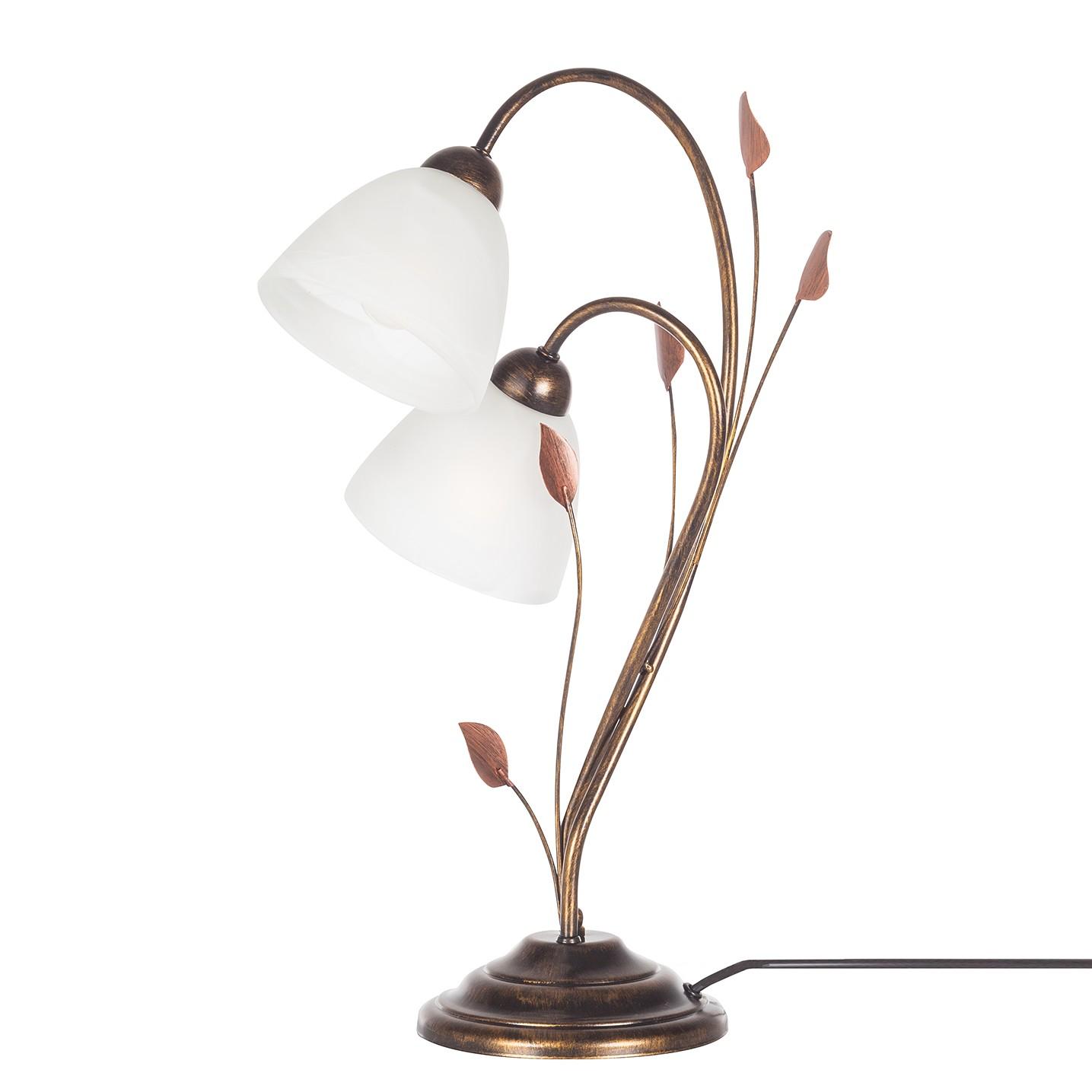 EEK A++, Lampe de table - Métal / Verre Noir 2 ampoules, Lampadina