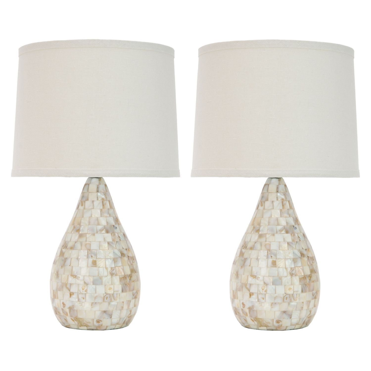 Lampe de table Laurelie (lot de 2) - Blanc / Nacré, Safavieh