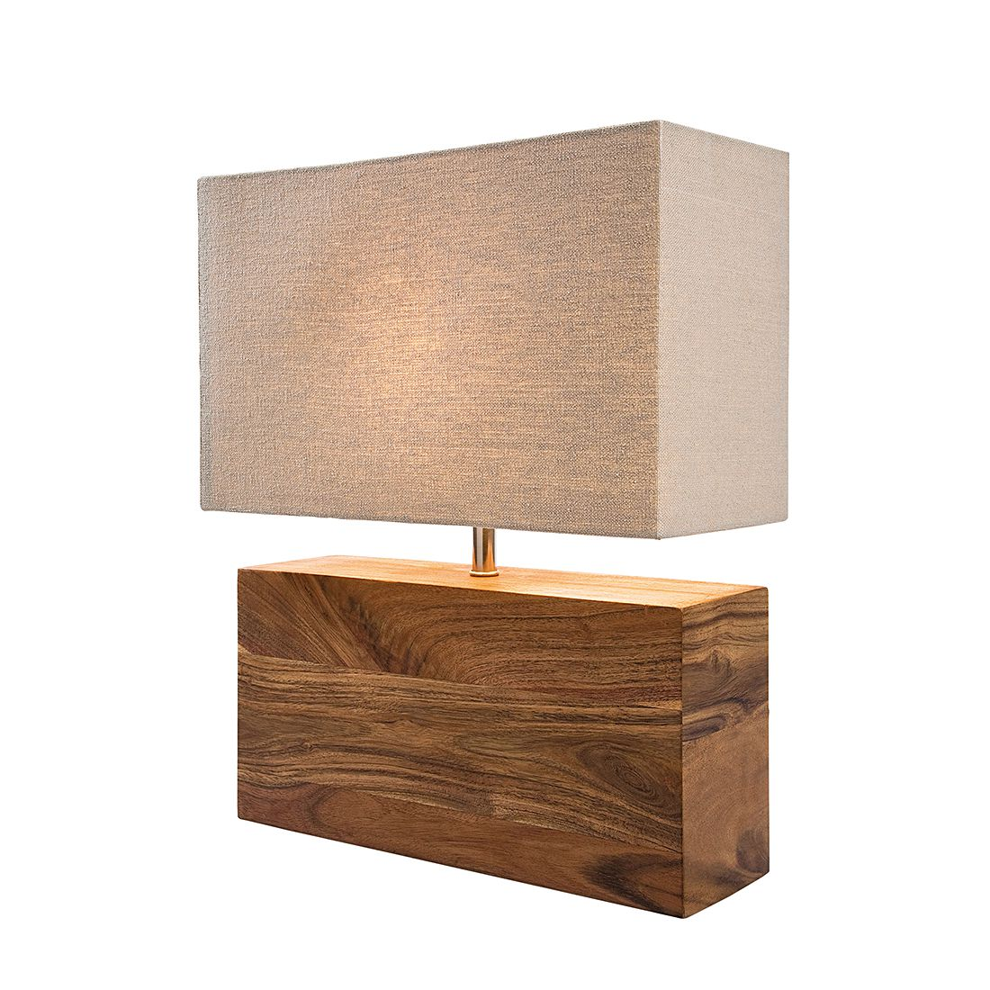 EEK A++, Lampe de table Rectangular Wood Nature - Coton / Bois d'acacia, Kare Design