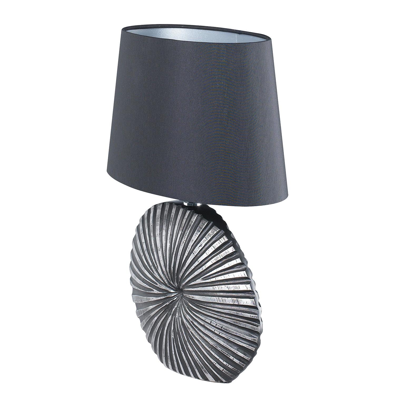 energie  A++, Tafellamp Shine-Shell - geweven stof/kunsthars - 1 lichtbron - 16 - Zwart/zilverkleurig, Shine by Fischer Leuchten