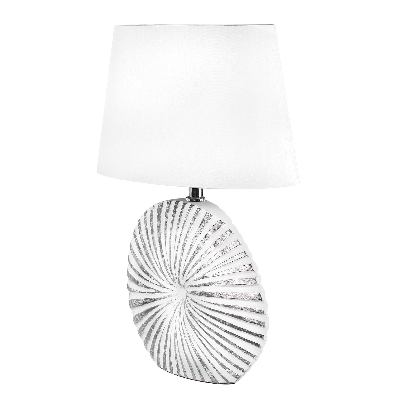 EEK A++, Lampe de table Shine-Shell - Tissu / Résine synthétique - 1 ampoule - 16 - Blanc / Argenté,