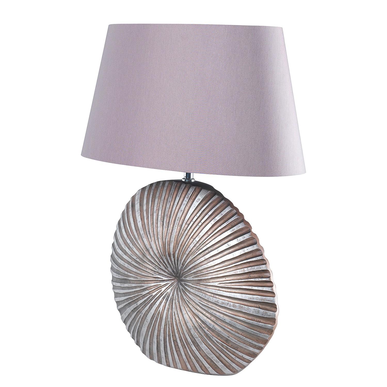 energie  A++, Tafellamp Shine-Shell - geweven stof/kunsthars - 1 lichtbron - 25 - Mauvekleurig / Chroomkleurig, Shine by Fischer Leuchten