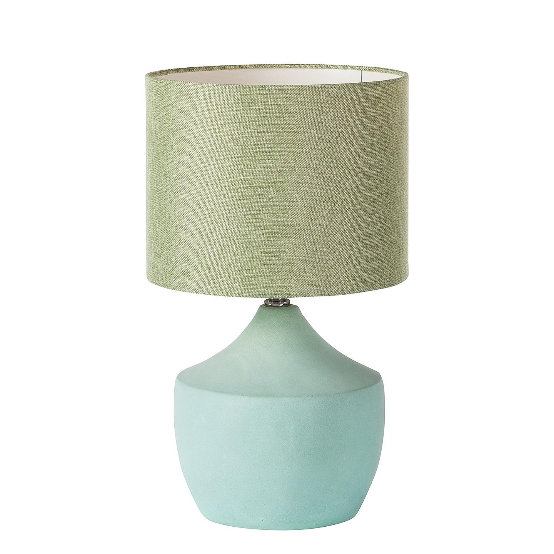 EEK A++, Lampe de table Tulla - Coton / Béton - 1 ampoule - Vert clair, Loistaa