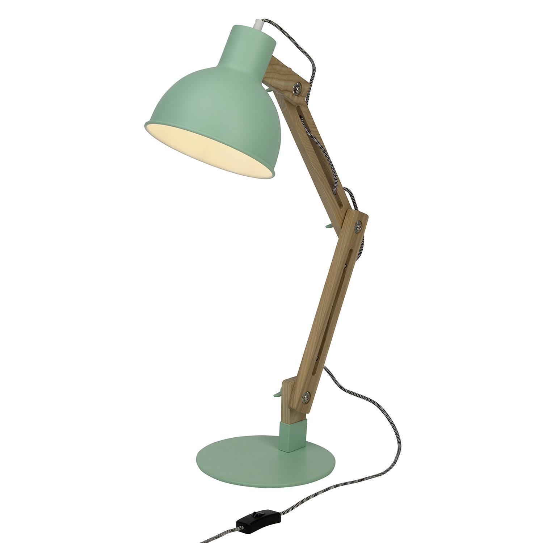 EEK A++, Lampe de table Elias -Métal / Frêne massif - 1 ampoule - Vert / Blanc, Brilliant