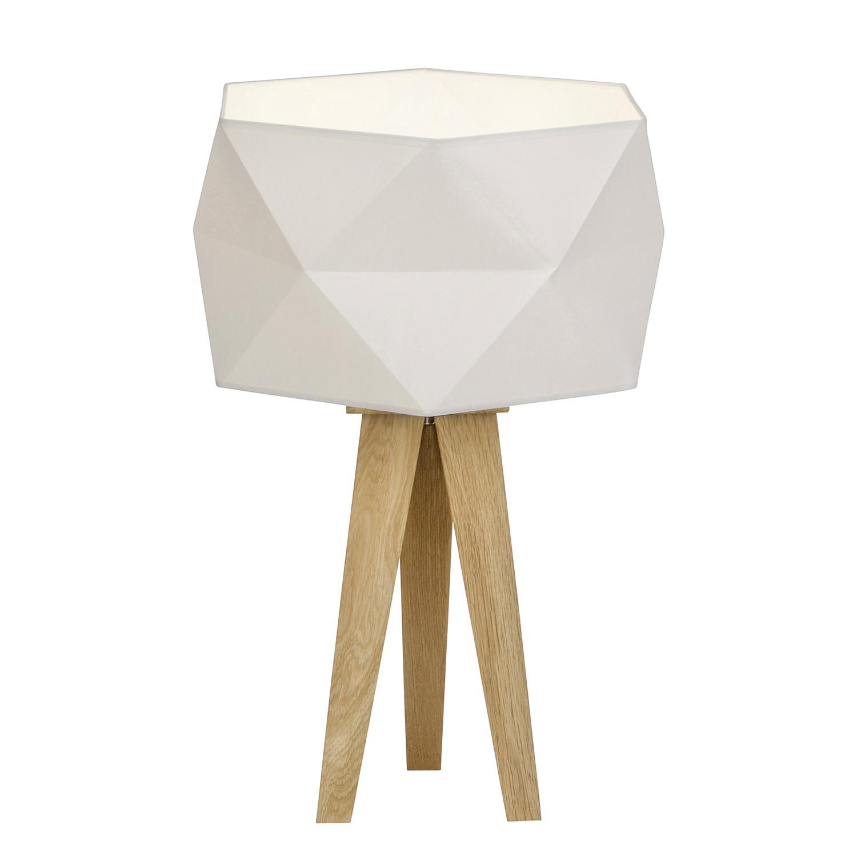 EEK A++, Lampe de table Polygon - Tissu mélangé / Chêne massif - 1 ampoule, Brilliant