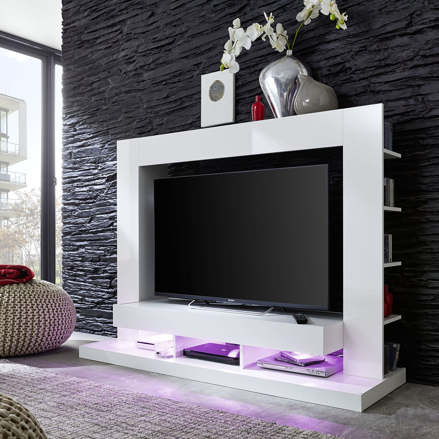 trendteam tv wand yoder ii hochglanz wei wei tv schrank m bel regal wand ebay. Black Bedroom Furniture Sets. Home Design Ideas