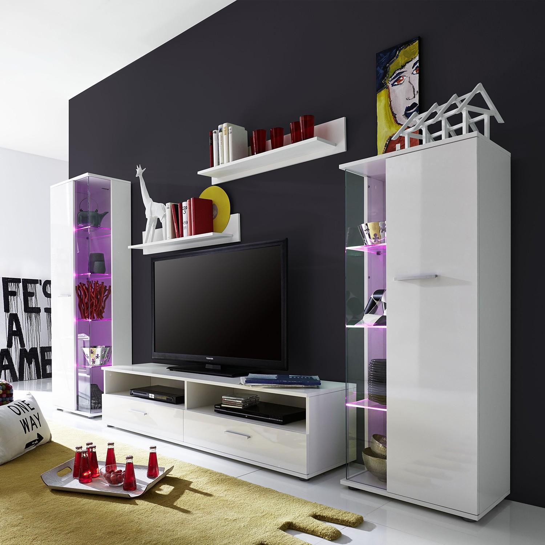 Wohnwand Lubers (5-teilig) - Hochglanz Weiß / Weiß, Trendteam
