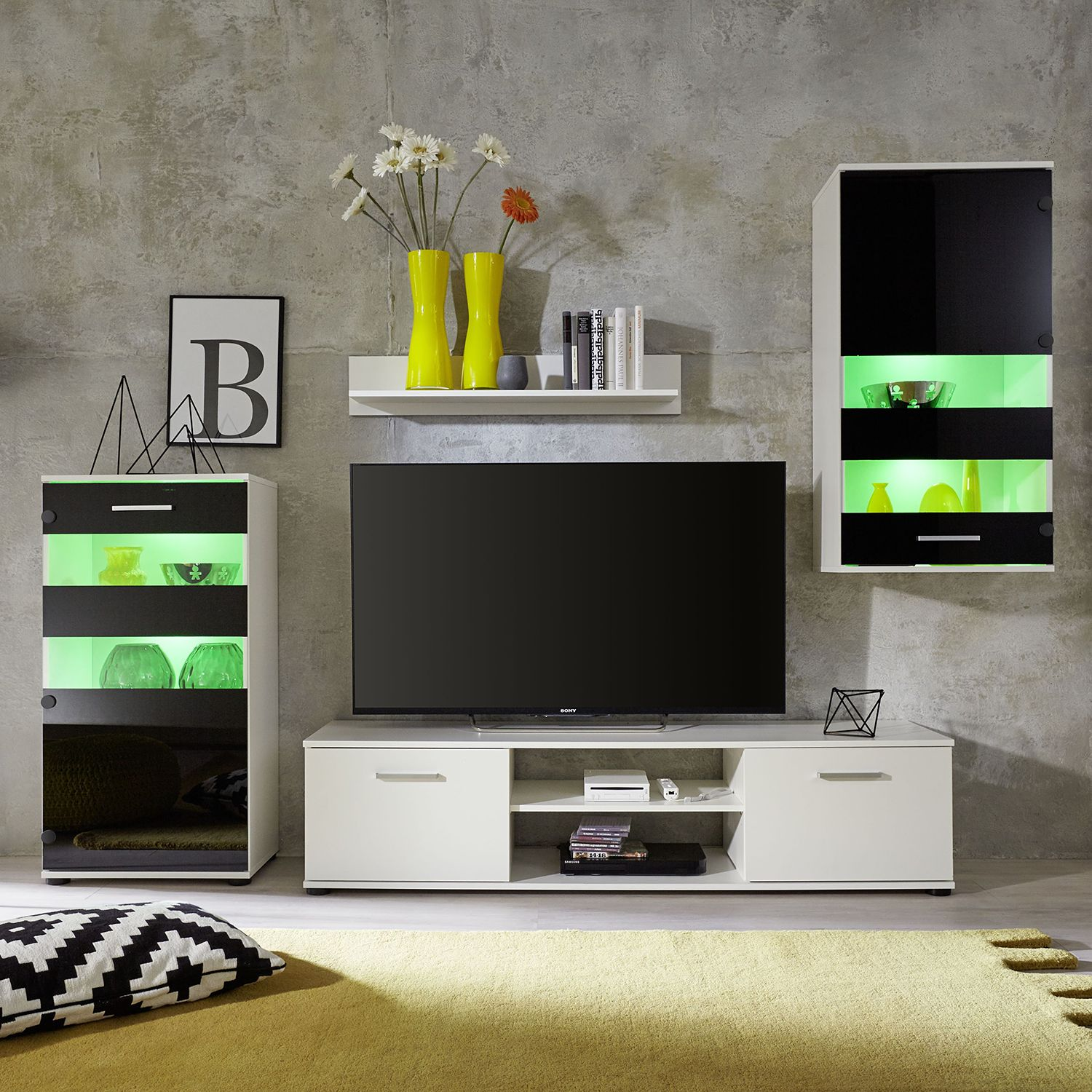 wohnwand schwarz wei preisvergleich die besten angebote online kaufen. Black Bedroom Furniture Sets. Home Design Ideas