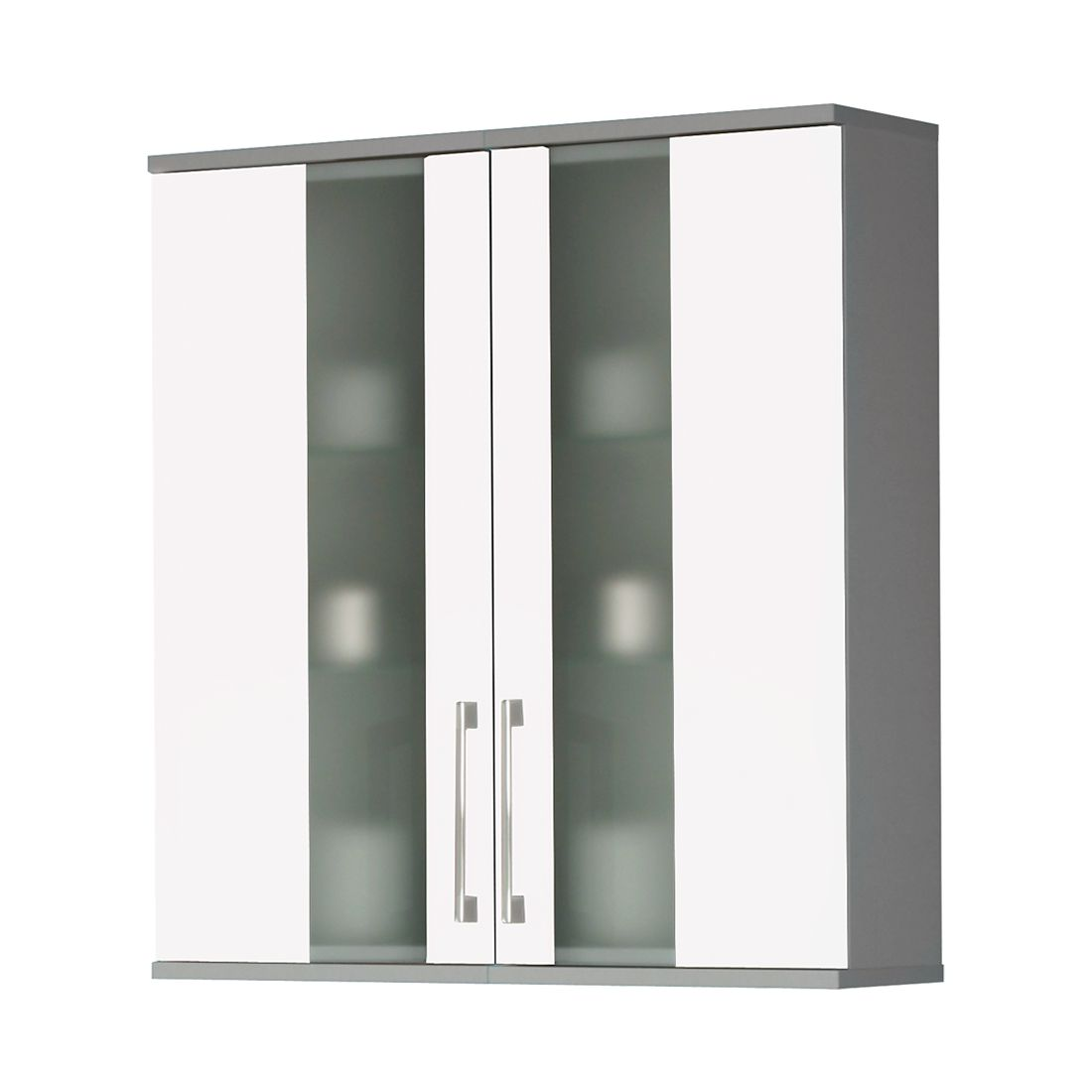 Armoire suspendue Treviso - Modèle large - Blanc / Couleur aluminium, Kesper Badmöbel