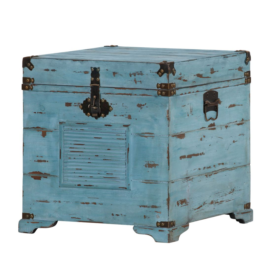 Image of Baule Chapalasee - Legno massello di abete Blu vintage, Red Living