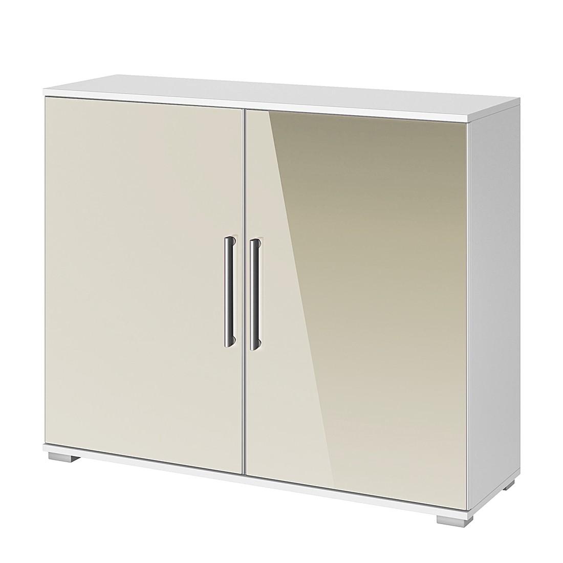 Commode à tiroirs Quadra - Blanc alpin / Gris sable brillant, Rauch Packs