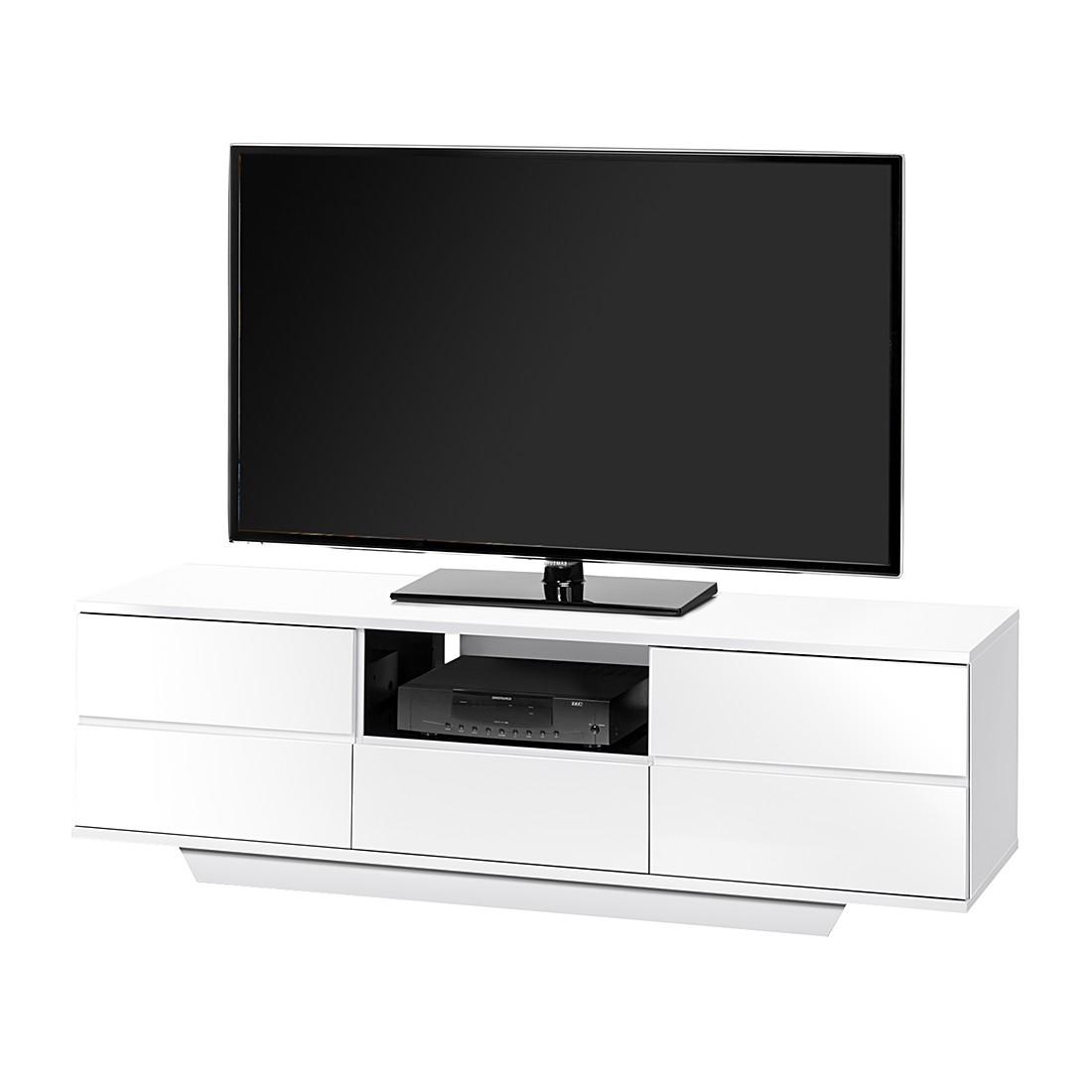 Mobile TV Amieka - Bianco lucido / Nero - 150 cm, Maja Möbel