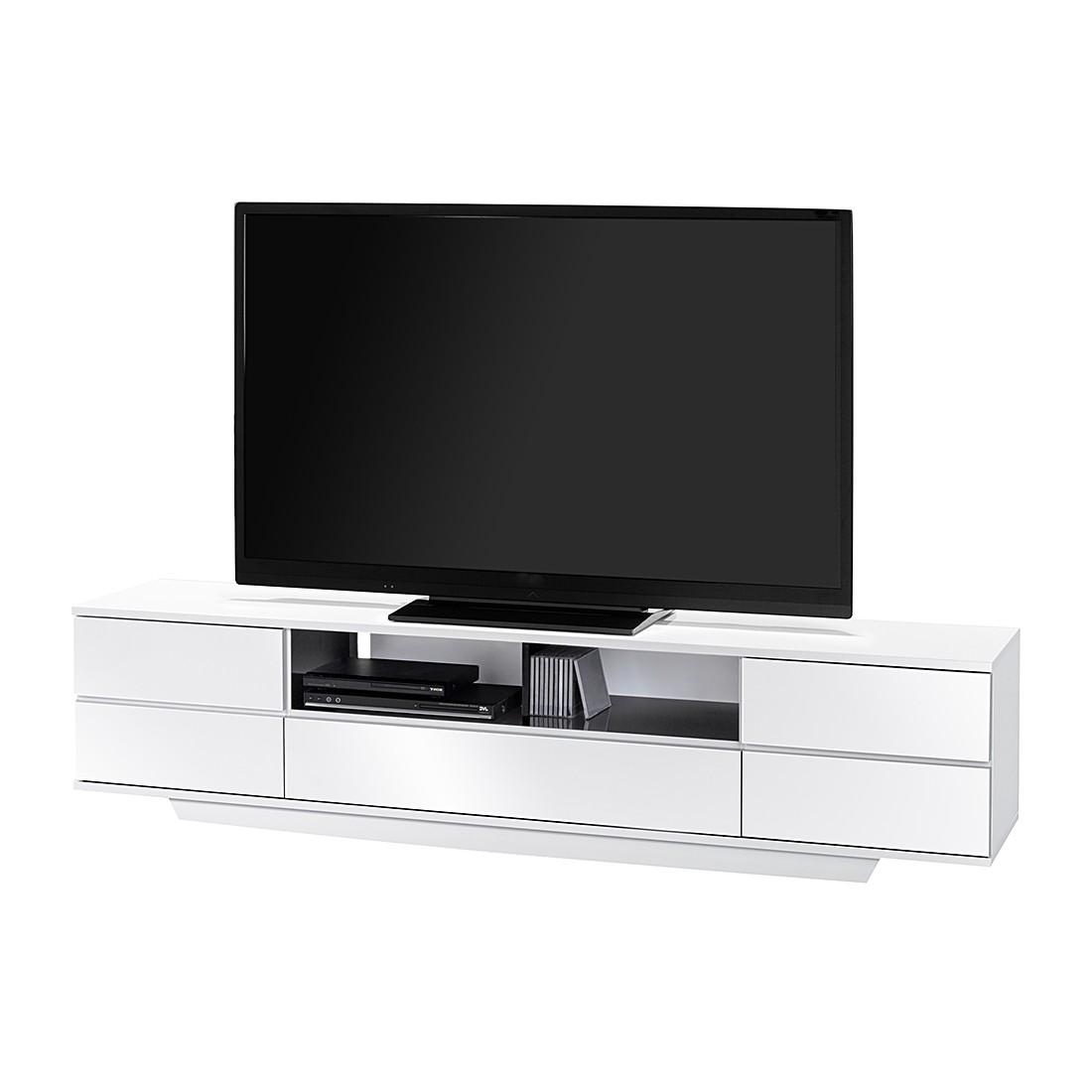 TV-Bank Amieka - Hochglanz Weiß / Schwarz - 199,5 cm, Maja Möbel
