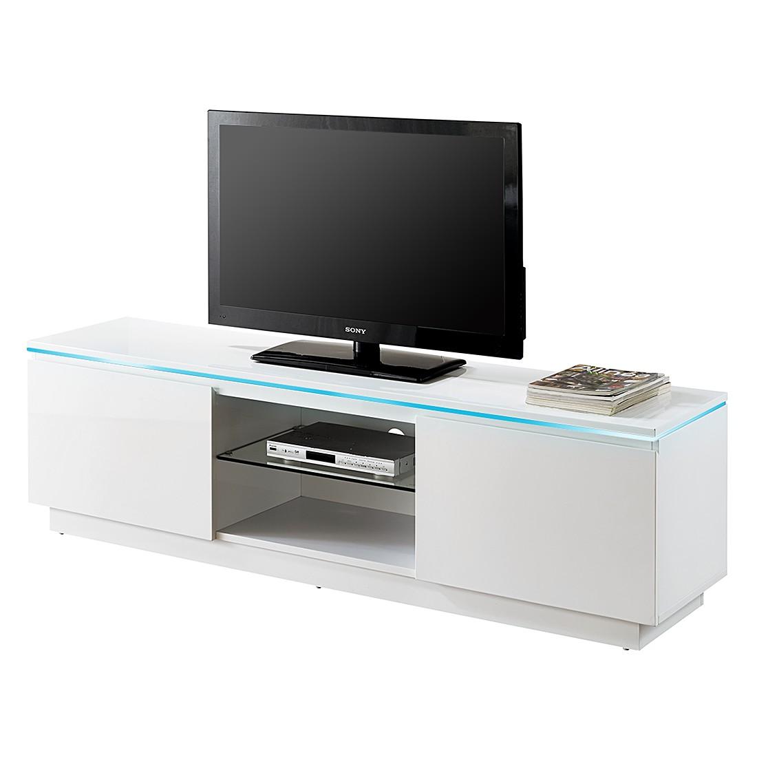 EEK A+, Meuble TV bas Annabella (éclairage fourni) - Blanc brillant, roomscape