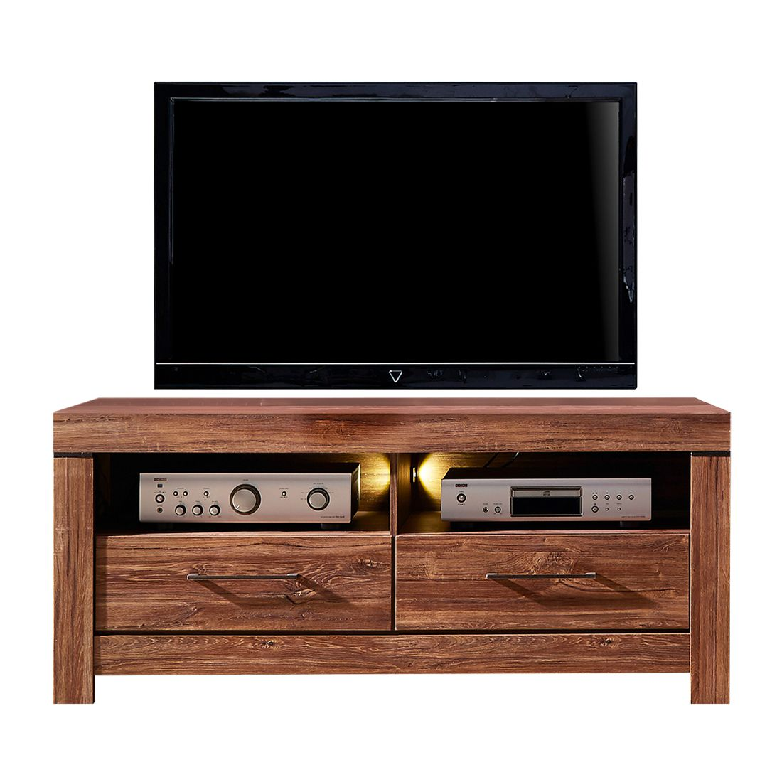 EEK A+, Meuble TV Blairmore (éclairage fourni) - Imitation acacia - 138 cm, loftscape