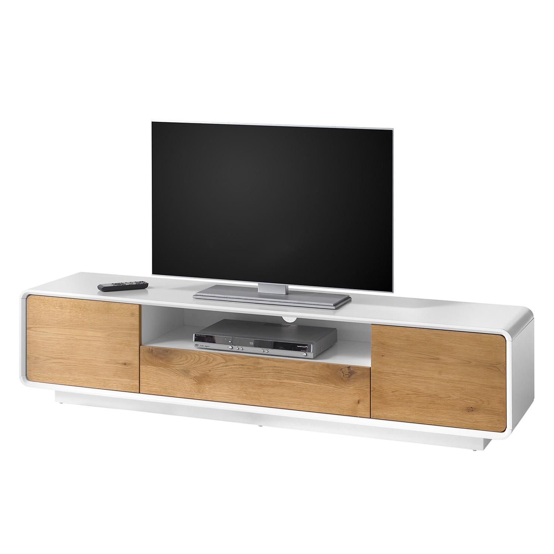 Meuble TV Boge I - Chêne rustique / Blanc mat, Morteens
