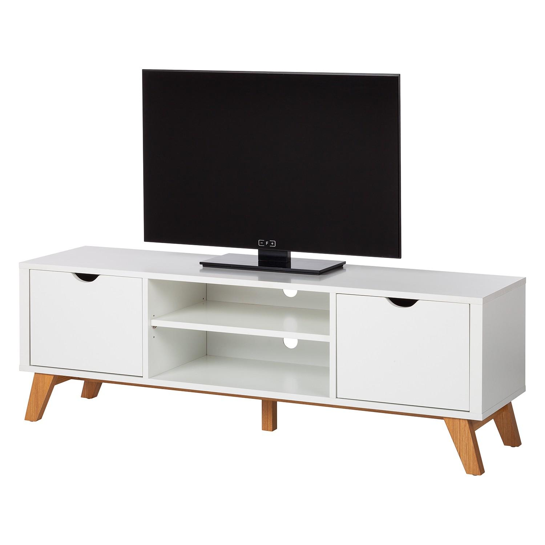 TV-Lowboard Brekille - Weiß / Eiche, Morteens
