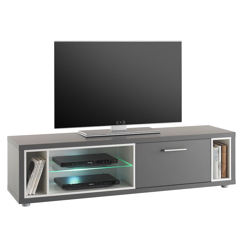 EEK A+, Meuble TV Claydon II (avec éclairage) - Gris, mooved