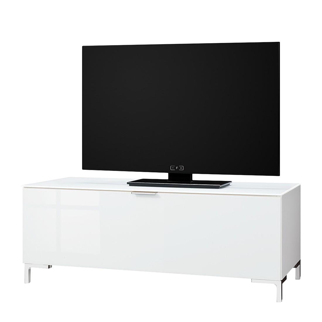 Meuble TV Cleo I - Blanc Pieds en chrome, Cs Schmal