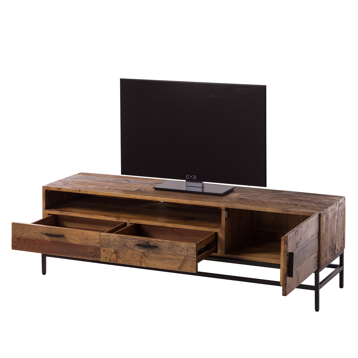 tv lowboard grasby i altholz pinie metall dunkel schwarz tv board schrank ebay. Black Bedroom Furniture Sets. Home Design Ideas