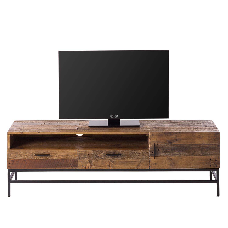 tv lowboard grasby i altholz pinie metall dunkel schwarz tv board schrank ebay. Black Bedroom Furniture Sets. Home Design Ideas