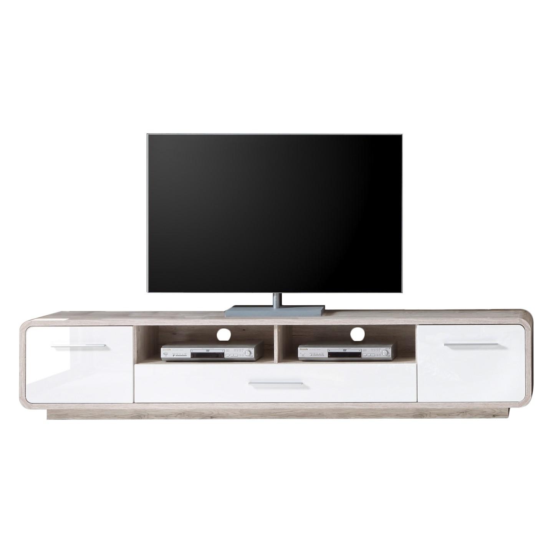 TV-Lowboard Lerida - Hochglanz Weiß / Sandeiche Dekor, roomscape