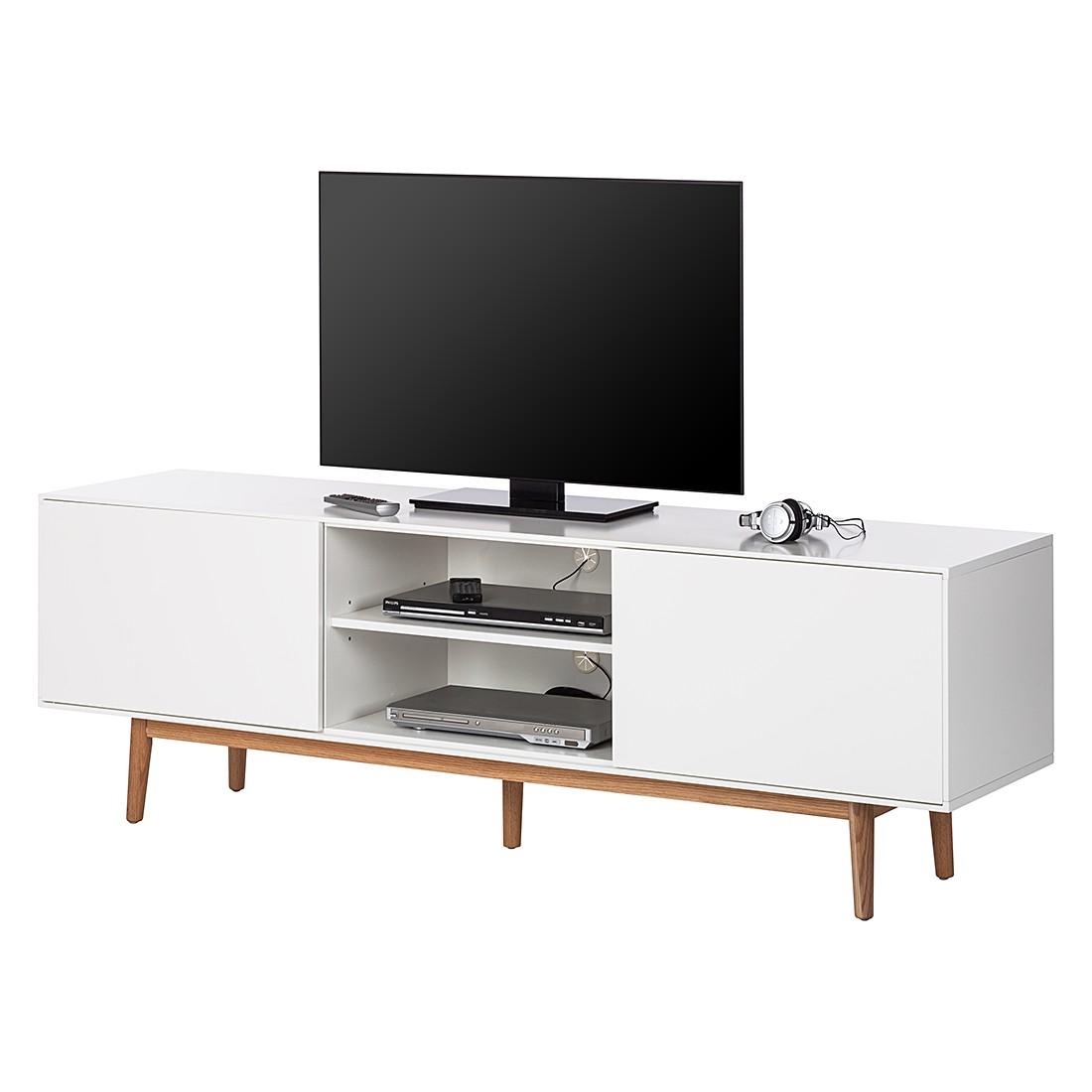 Mobile TV Lindholm - Parzialmente in legno massello di quercia Bianco, Morteens