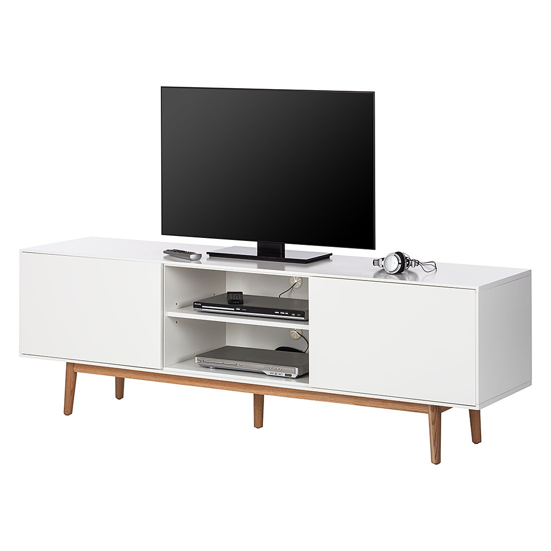 Meuble TV Lindholm - Blanc / Chêne massif, Morteens